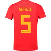 Spain Home Shirt 2018 with Sergio 5 printing