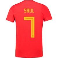 Spain Home Shirt 2018 with Saul 7 printing