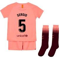 Barcelona Third Stadium Kit 2018-19 - Little Kids with Sergio 5 printing