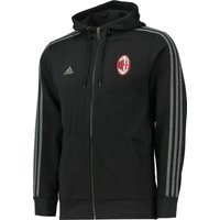 AC Milan 3 Stripe Hooded Zip Top Black