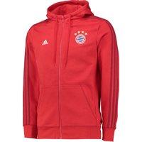 Bayern Munich 3 Stripe Hooded Zip Top Red