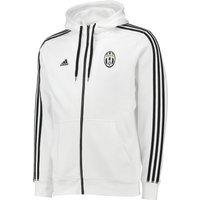 Juventus 3 Stripe Hooded Zip Top White