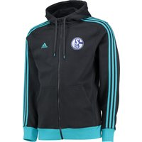 Schalke 04 3 Stripe Hooded Zip Top Grey
