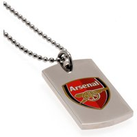 Arsenal Colour Crest Dog Tag & Chain - Stainless Steel