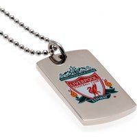 Liverpool Colour Crest Dog Tag & Chain - Stainless Steel