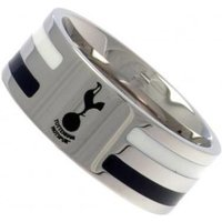 Tottenham Hotspur Colour Stripe Crest Band Ring - Stainless Steel