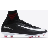 Nike Mercurial Superfly V Dynamic Fit Firm Ground Football Boots - Black/White/Dark Grey/University Red - Kids