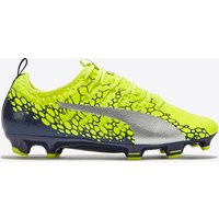 Puma evoPOWER Vigor 2 Graphic Firm Ground Football Boots - Safety Yellow/Silver/Blue Depths