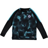 Chelsea Squad Pre-Match Long Sleeve Training Top - Black - Kids