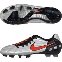 Nike T90 Laser III K-Firm Ground Football Boots - White/Challenge Red/Black