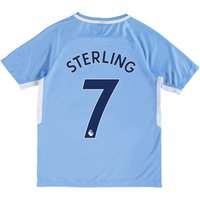 Manchester City Home Stadium Shirt 2017-18 - Kids with Sterling 7 printing