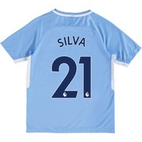 Manchester City Home Stadium Shirt 2017-18 - Kids with Silva 21 printing