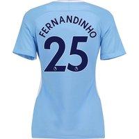 Manchester City Home Stadium Shirt 2017-18 - Womens with Fernandinho 25 printing
