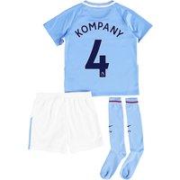 Manchester City Home Stadium Kit 2017-18 - Little Kids with Kompany 4 printing