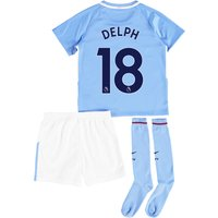 Manchester City Home Stadium Kit 2017-18 - Little Kids with Delph 18 printing