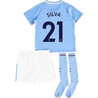 Manchester City Home Stadium Kit 2017-18 - Little Kids with Silva 21 printing