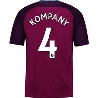 Manchester City Away Stadium Shirt 2017-18 - Kids with Kompany 4 printing