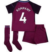 Manchester City Away Stadium Kit 2017-18 - Little Kids with Kompany 4 printing
