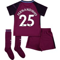 Manchester City Away Stadium Kit 2017-18 - Little Kids with Fernandinho 25 printing