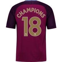 Manchester City Away Stadium Shirt 2017-18 - Kids with Champions 18 printing