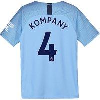 Manchester City Home Stadium Shirt 2018-19 - Kids with Kompany 4 printing