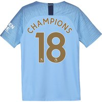 Manchester City Home Stadium Shirt 2018-19 - Kids with Champions 18 printing
