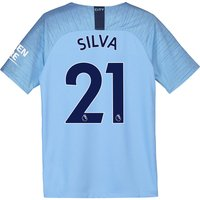 Manchester City Home Stadium Shirt 2018-19 - Kids with Silva 21 printing