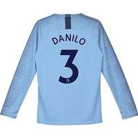 Manchester City Home Stadium Shirt 2018-19 - Long Sleeve - Kids with Danilo 3 printing