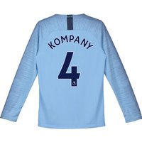 Manchester City Home Stadium Shirt 2018-19 - Long Sleeve - Kids with Kompany 4 printing