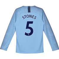 Manchester City Home Stadium Shirt 2018-19 - Long Sleeve - Kids with Stones 5 printing