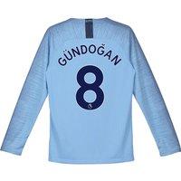 Manchester City Home Stadium Shirt 2018-19 - Long Sleeve - Kids with Gündogan 8 printing