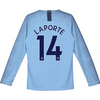Manchester City Home Stadium Shirt 2018-19 - Long Sleeve - Kids with Laporte 14 printing