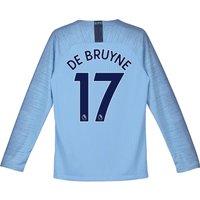 Manchester City Home Stadium Shirt 2018-19 - Long Sleeve - Kids with De Bruyne 17 printing
