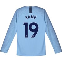 Manchester City Home Stadium Shirt 2018-19 - Long Sleeve - Kids with Sané 19 printing