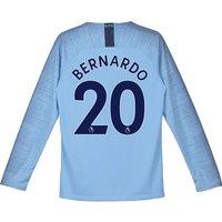 Manchester City Home Stadium Shirt 2018-19 - Long Sleeve - Kids with Bernardo 20 printing