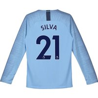 Manchester City Home Stadium Shirt 2018-19 - Long Sleeve - Kids with Silva 21 printing