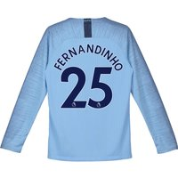 Manchester City Home Stadium Shirt 2018-19 - Long Sleeve - Kids with Fernandinho 25 printing