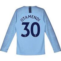 Manchester City Home Stadium Shirt 2018-19 - Long Sleeve - Kids with Otamendi 30 printing