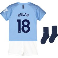 Manchester City Home Stadium Kit 2018-19 - Little Kids with Delph 18 printing