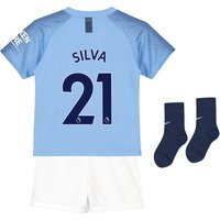 Manchester City Home Stadium Kit 2018-19 - Little Kids with Silva 21 printing