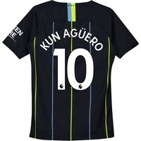 Manchester City Away Stadium Shirt 2018-19 - Kids with Kun Agüero  10 printing