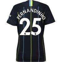Manchester City Away Stadium Shirt 2018-19 - Womens with Fernandinho 25 printing