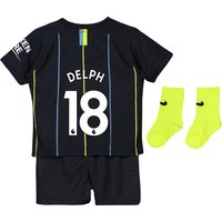 Manchester City Away Stadium Kit 2018-19 - Infants with Delph 18 printing
