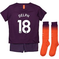 Manchester City Third Stadium Kit 2018-19 - Little Kids with Delph 18 printing