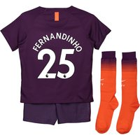 Manchester City Third Stadium Kit 2018-19 - Little Kids with Fernandinho 25 printing