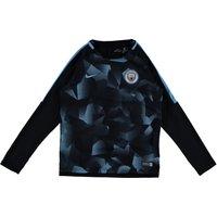 Manchester City Squad Pre-Match Long Sleeve Training Top - Black - Kids