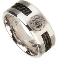 Manchester City Black Inlay Crest Band Ring - Stainless Steel
