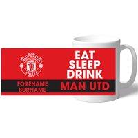 Manchester United Personalised Eat Sleep Drink Mug