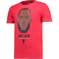 Manchester United Lukaku T-Shirt by Stanley Chow - Red - Mens