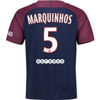 Paris Saint-Germain Home Stadium Shirt 2017-18 with Marquinhos 5 printing